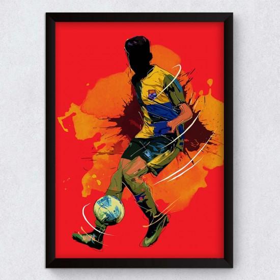 Футболен мач - Постер - Картина със спортен силует, спортна фигура, футболист