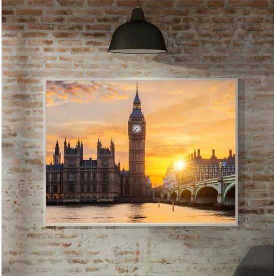 Лондон Залез - Фото пано, Принт в рамка