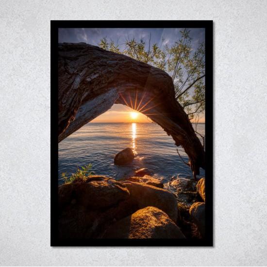 Залез над езерото - Картина Фото пано