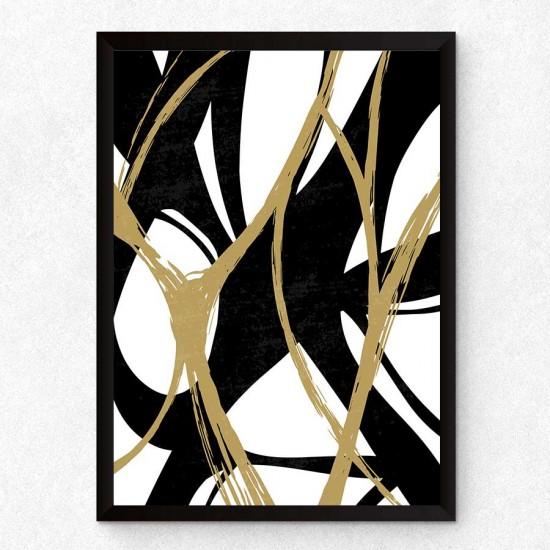 Десен Midd - 3 части, триптих - пана, модули - черти и линии - Пано 3 части в рамка, канава