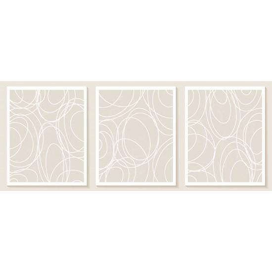 Десен Nude - триптих - черти и линии - Пано 3 части в рамка, канава