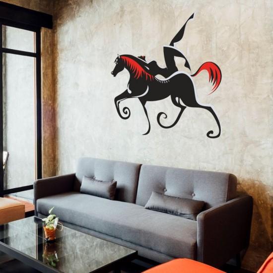 стикер за декорация на стена жена на кон