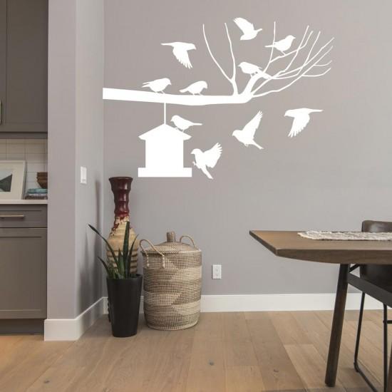 клонче и къщичка за птички- декоративен стикер за стена