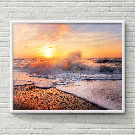 Красив изгрев - Фото пано - Фото пано пейзаж от брега, Картина - Принт в рамка