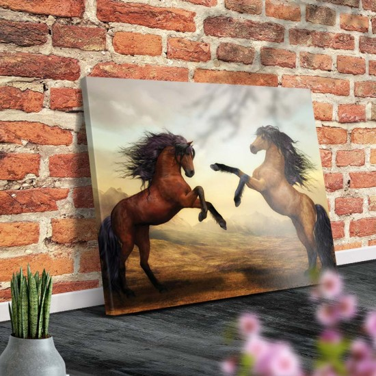 Млади коне - Арт пано, Картина с коне - Принт в рамка