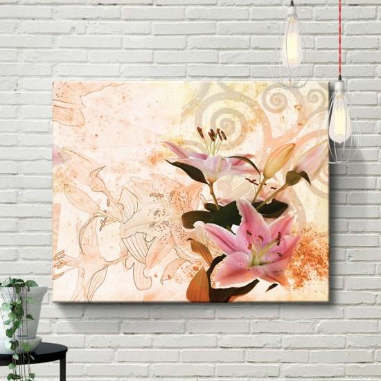 Модерен Сецесион - Триптих, Фото арт с модерни цветя - Пано 3 части в рамка, канава