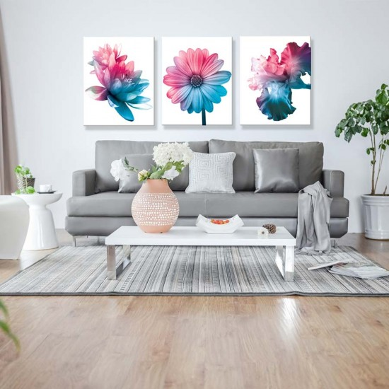 Градиент 3 пана - Триптих, Фото арт с модерни цветя - Пано 3 части в рамка, канава