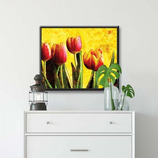 Картина Лалета - Фото арт с модерни лалета, цветя - Принт в рамка, канава