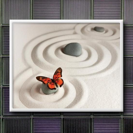 Дзен вселена с пеперуда - картина за баня