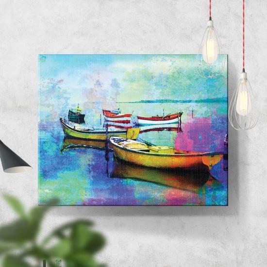 Спокойни лодки - Арт пано, Картина - Принт в рамка