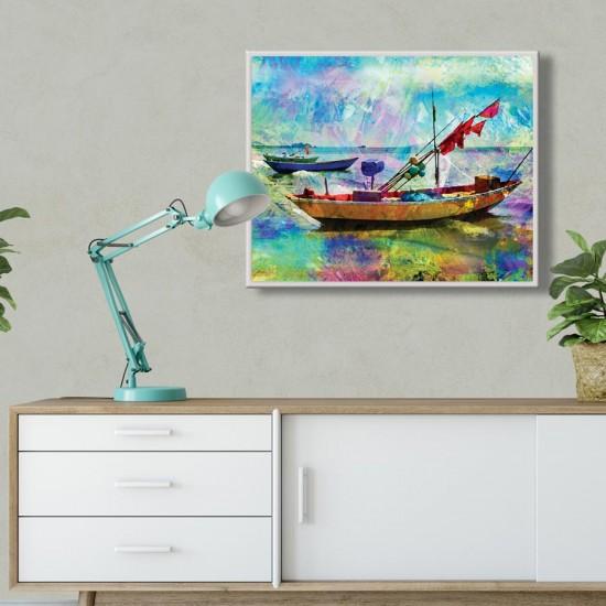 Красиви лодки - Арт пано, Картина - Принт в рамка