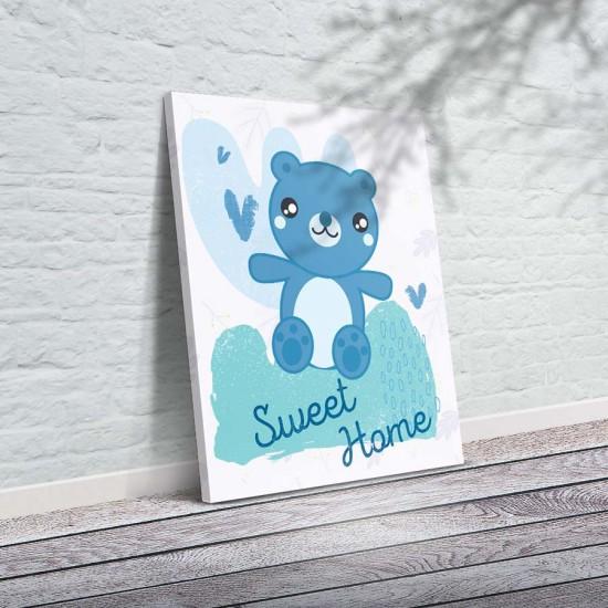 Картина, постер в рамка за стена с мече Blue Teddy - за момче