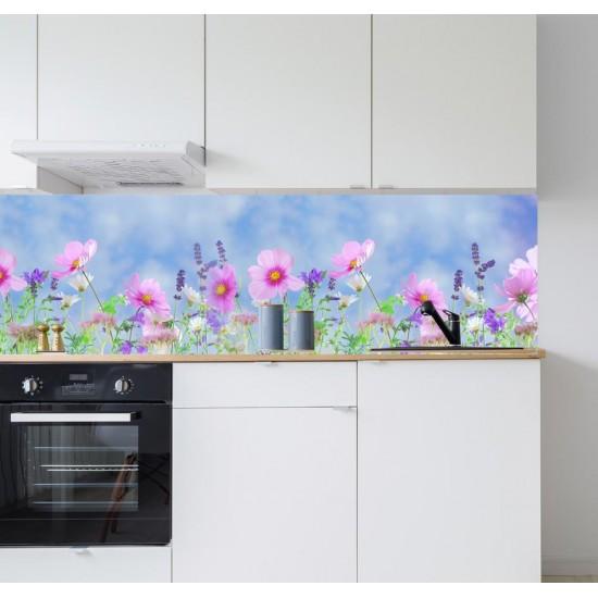 стикер за гръб на кухня с цветя