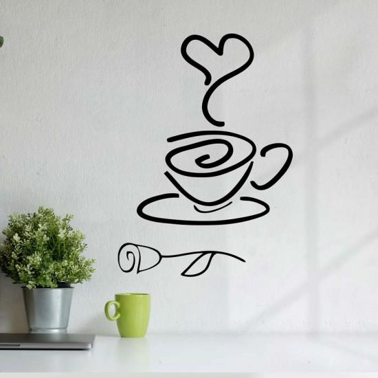 Кафе с роза - стикер за стена