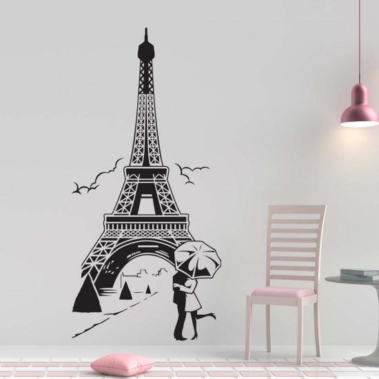Стикер за стена целувка в париж с Айфелова кула