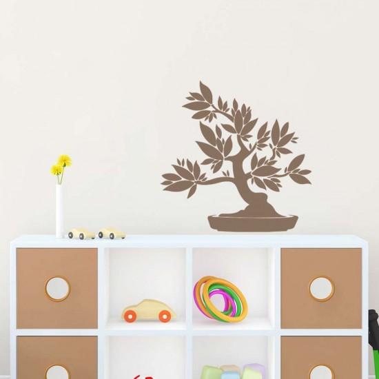 Дръвче Бонсай - едноцветен стикер за декорация на стена