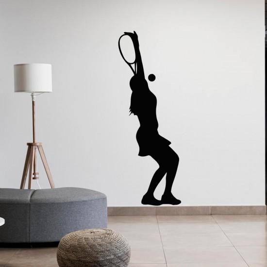 Тенисистка в сервис стикер за стена
