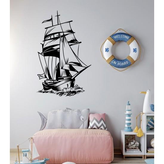 Кораб с платна стикер за декорация на стена