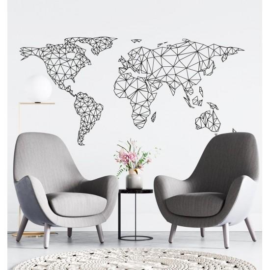 Стикер за стена Kарта на света