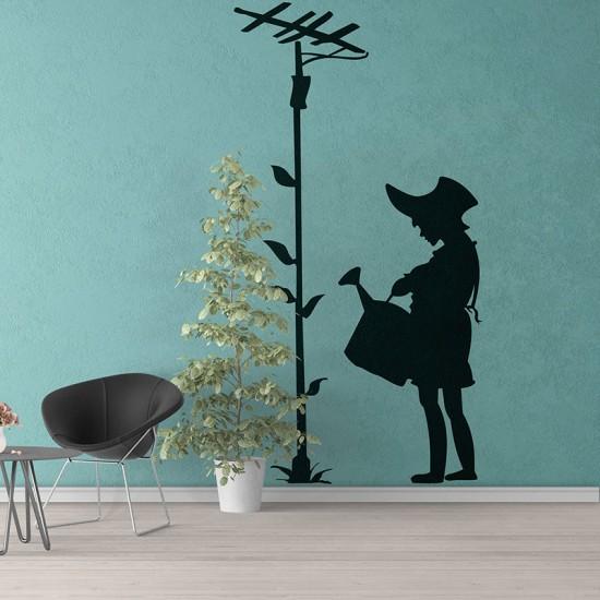 стикер за стена с момиче и цвете