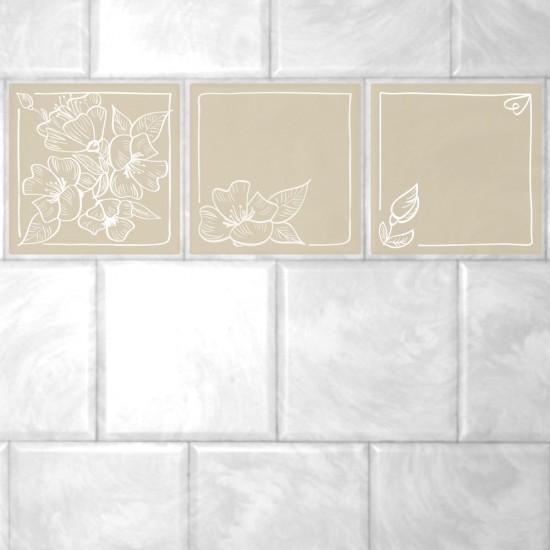 стикери за плочки цветя в бяло