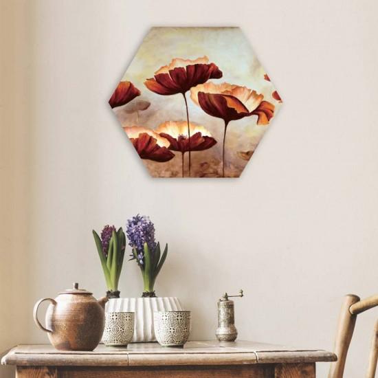 Маслени макове - Хексагон, Хексагон пано за декорация на стена