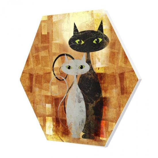 Абстрактни котки - Хексагон, пано за декорация на стена
