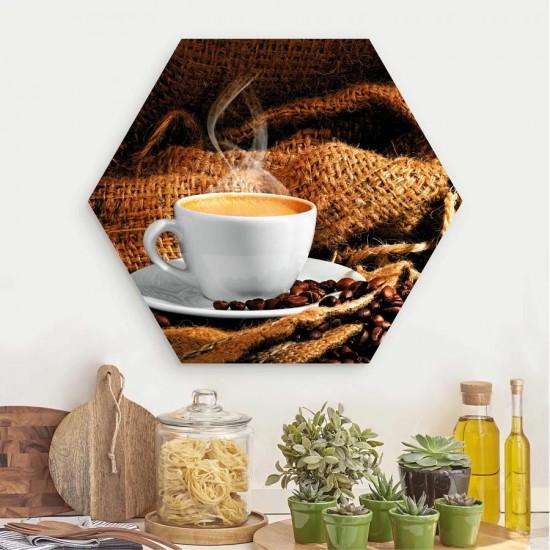 Ароматно кафе - Хексагон, пано за декорация на стена