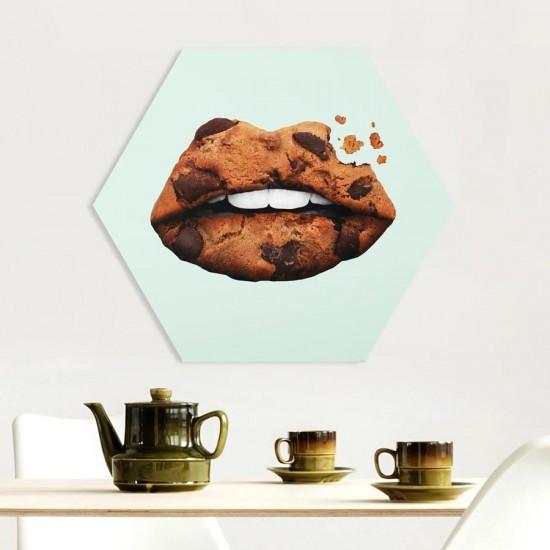 Кексче устни - Хексагон пано за декорация на стена