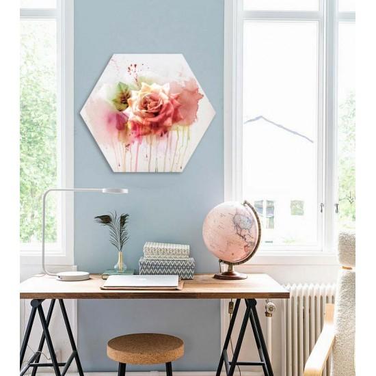 Акварелна страст - Хексагон с цветя