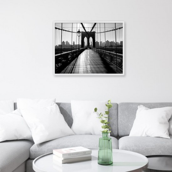 Моста Бруклин  - Черно бяло, Принт в рамка