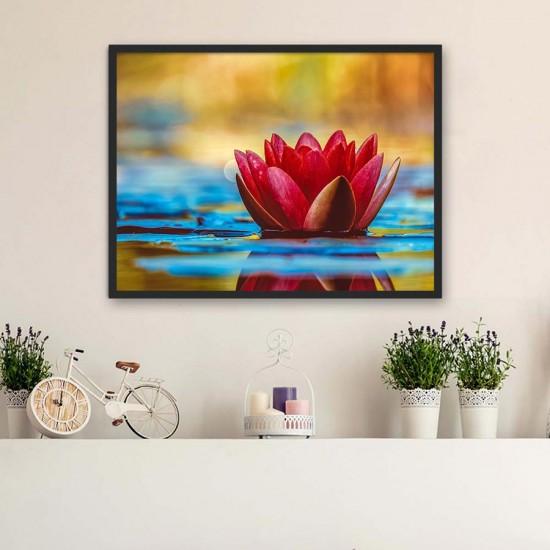 Червен лотос - Фото пано - картина за баня, йога център