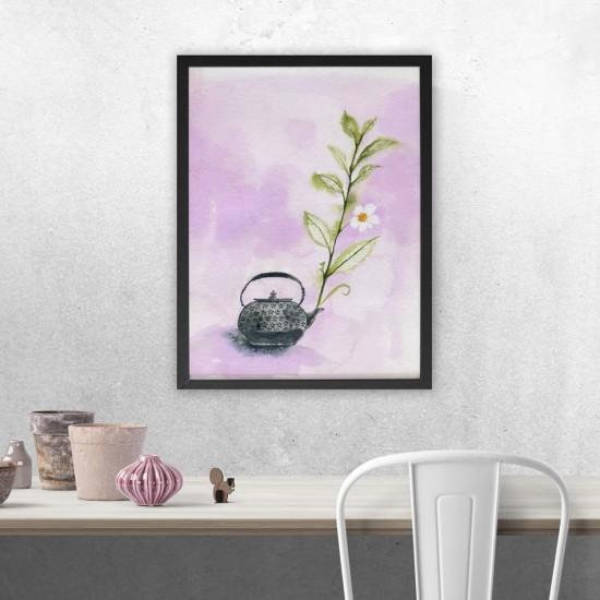 Цветна усмивка - Арт пано, Клонка с цветове и чайник