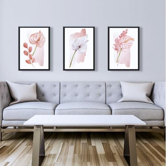 Триптих с Опашати цветя - Антуриум