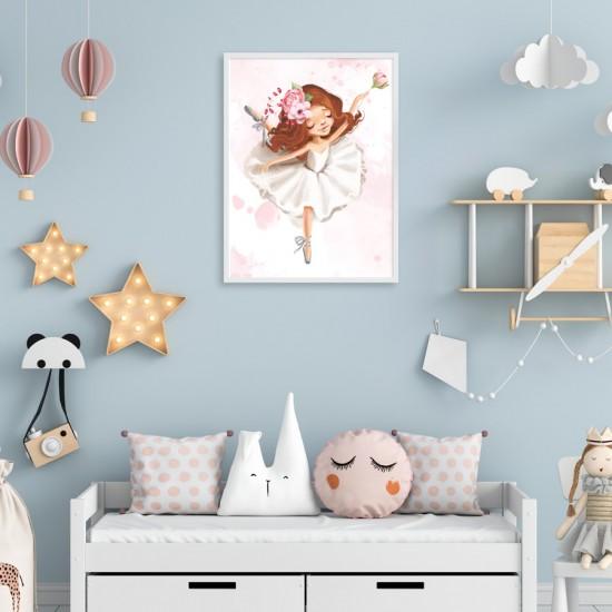 Балерина с роза - Детска картина в рамка за стена