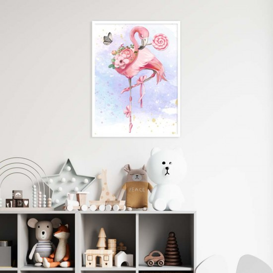 Фламинго с балетни обувки - Детска картина в рамка за стена