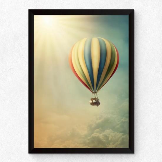 Балон горещ въздух - Детска картина в рамка за стена