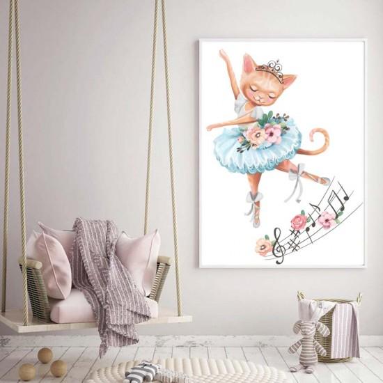 Коте принцеса - Детска картина в рамка за стена