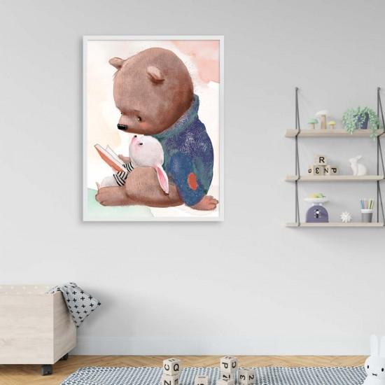 Приятели четат книжка - Детска картина в рамка за стена