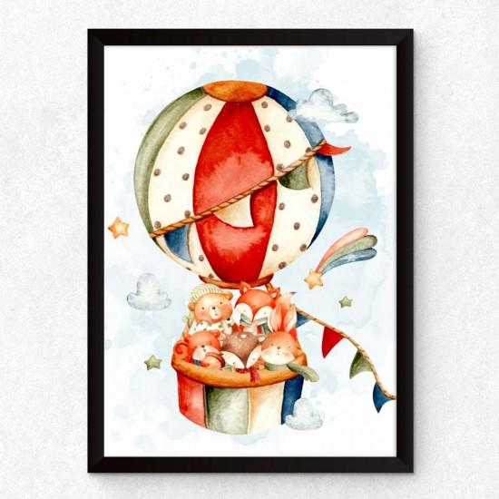 Животни в балон - Детска картина в рамка за стена