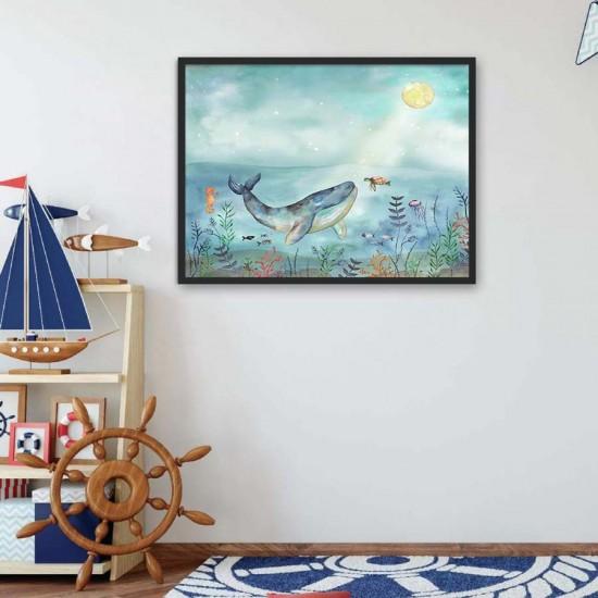 Воден свят - Детска картина в рамка за стена