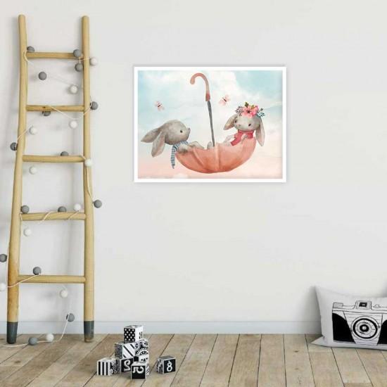 детска картина зайчета в чадър - Принт в рамка