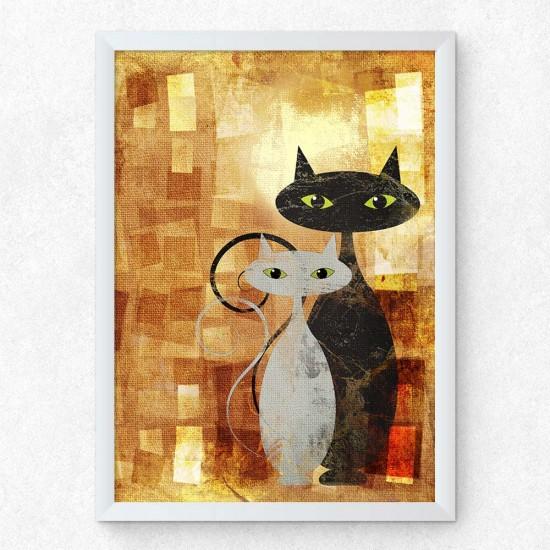 Абстрактни котки - Картина - Принт в рамка