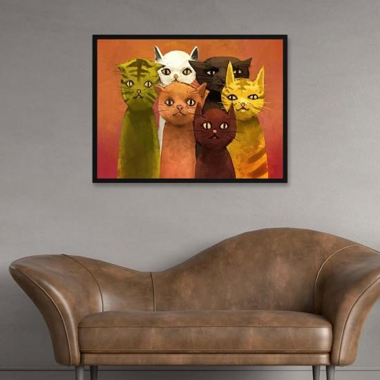 Цветни котки - Картина - Принт в рамка