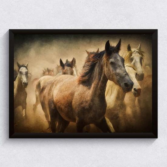 Стадо коне в галоп - Фото арт - Фото пано пейзаж от брега, Картина - Принт в рамка