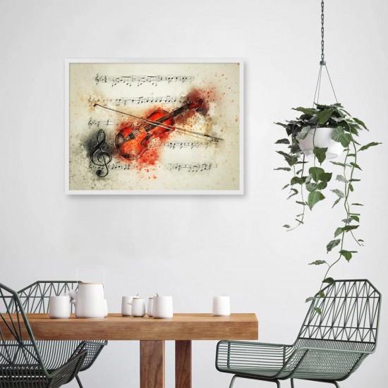 Акварелна цигулка - фото арт , постер в рамка за стена