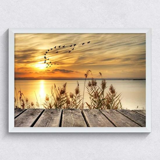 Залез на кея - Фото картина - Фото пано пейзаж със залез, Картина - Принт в рамка