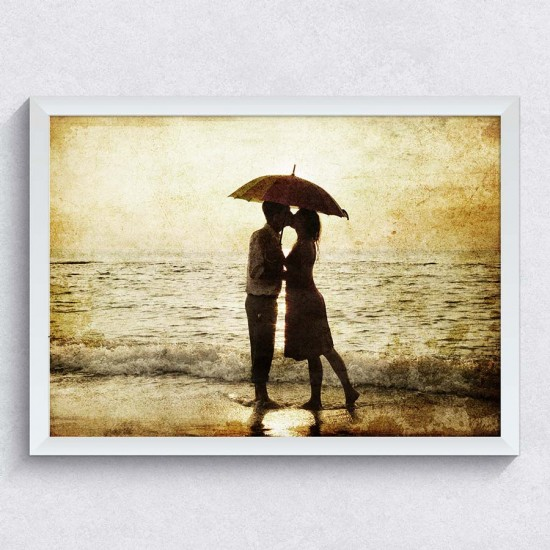 Целувка на плажа - Фото картина - Постер с рамка
