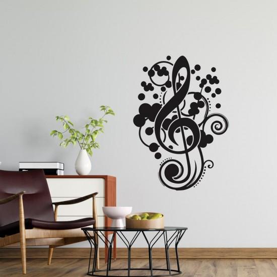 Ключ Сол Музикална орнаментика - стикер за стена