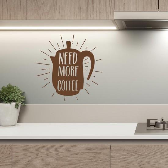 стикер за стена с надпис още кафе